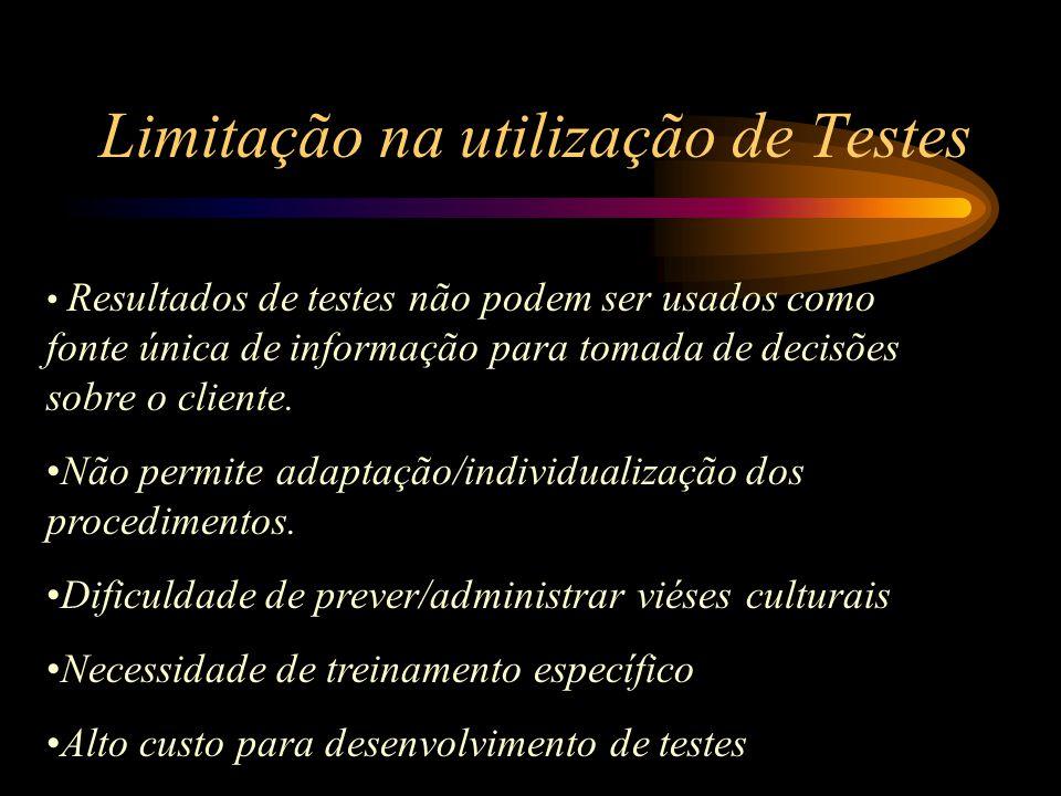 Limitação na utilização de Testes Resultados de testes não podem ser usados como fonte única de informação para tomada de decisões sobre o cliente. Nã