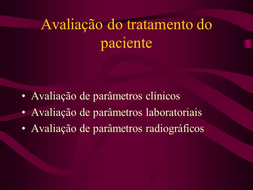 Avaliação do tratamento do paciente Avaliação de parâmetros clínicos Avaliação de parâmetros laboratoriais Avaliação de parâmetros radiográficos