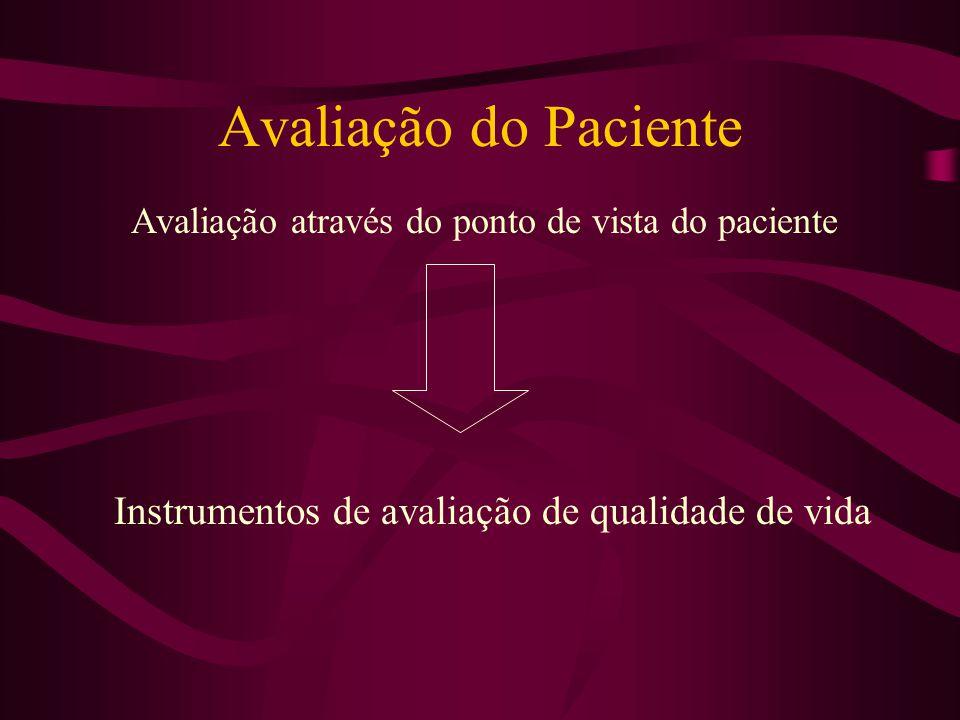 Avaliação do Paciente Avaliação através do ponto de vista do paciente Instrumentos de avaliação de qualidade de vida