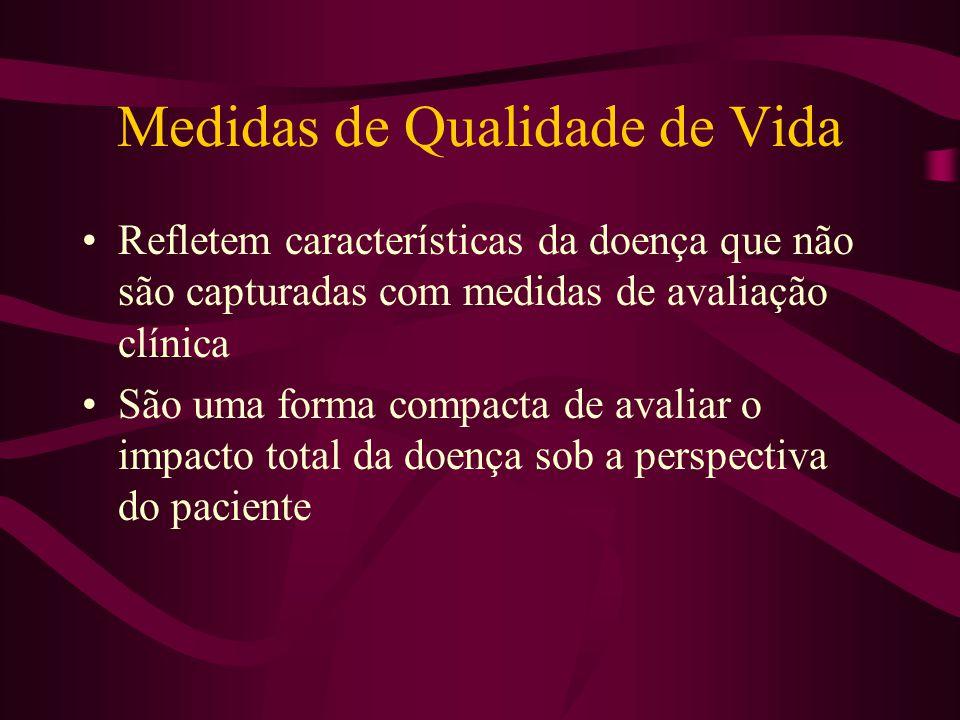 Medidas de Qualidade de Vida Refletem características da doença que não são capturadas com medidas de avaliação clínica São uma forma compacta de aval