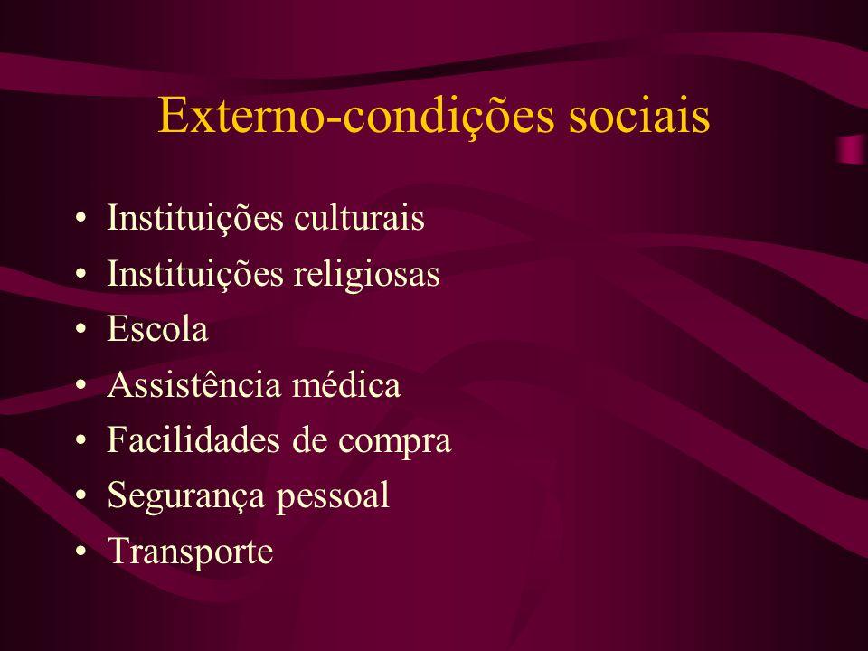 Externo-condições sociais Instituições culturais Instituições religiosas Escola Assistência médica Facilidades de compra Segurança pessoal Transporte