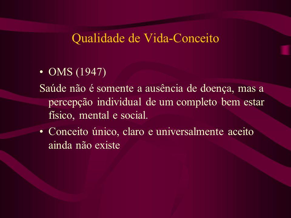 Qualidade de Vida-Conceito OMS (1947) Saúde não é somente a ausência de doença, mas a percepção individual de um completo bem estar físico, mental e s