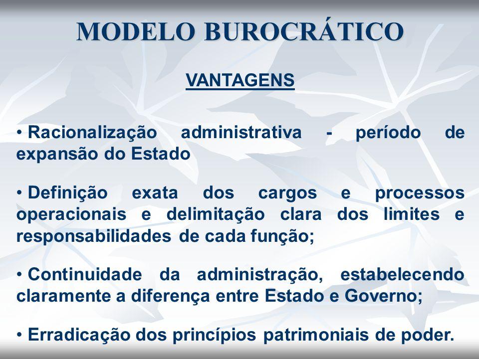 VANTAGENS Racionalização administrativa - período de expansão do Estado Definição exata dos cargos e processos operacionais e delimitação clara dos li