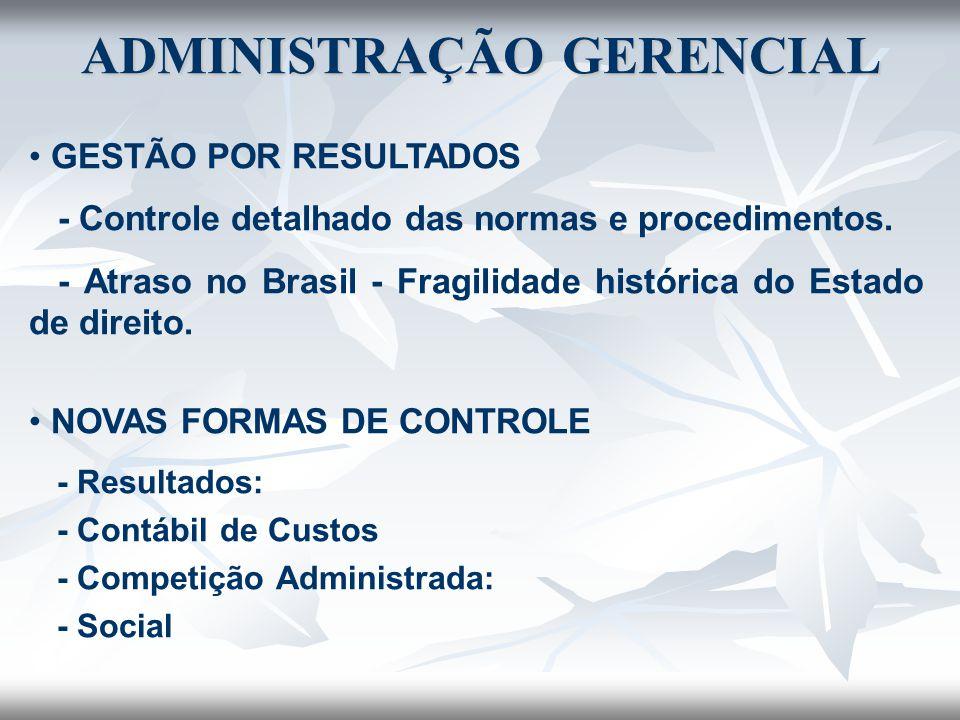 GESTÃO POR RESULTADOS - Controle detalhado das normas e procedimentos. - Atraso no Brasil - Fragilidade histórica do Estado de direito. NOVAS FORMAS D