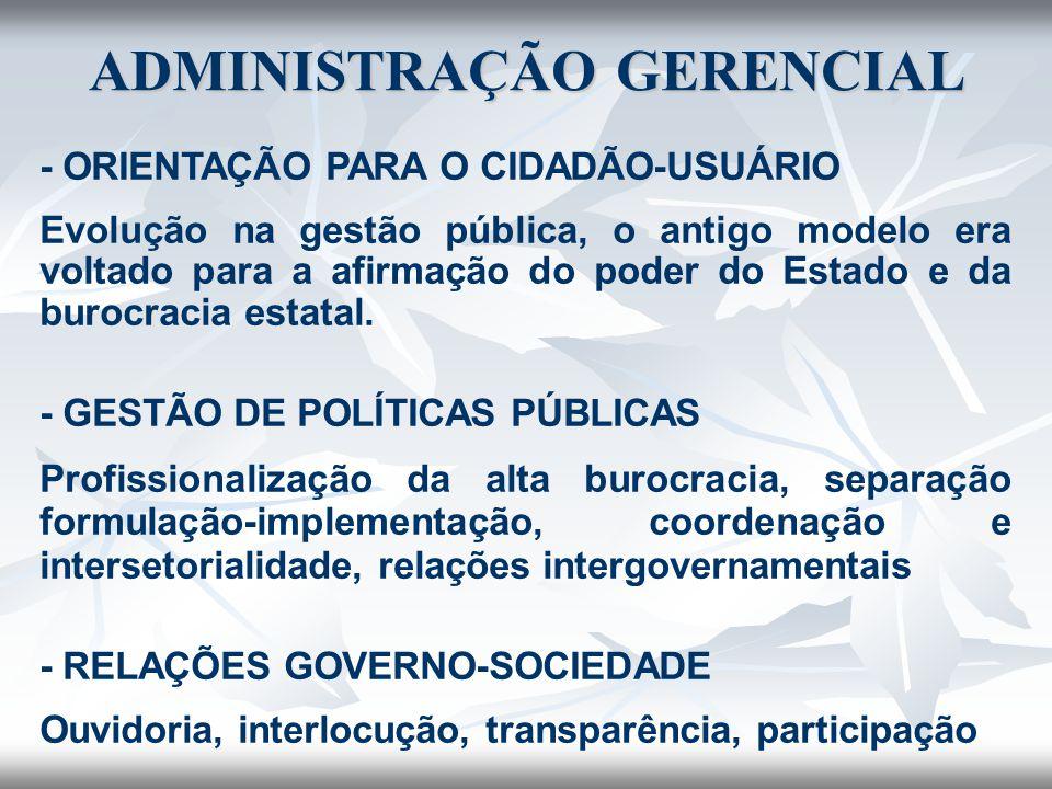 - ORIENTAÇÃO PARA O CIDADÃO-USUÁRIO Evolução na gestão pública, o antigo modelo era voltado para a afirmação do poder do Estado e da burocracia estata