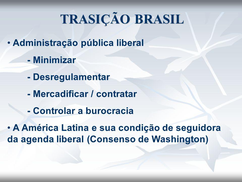 Administração pública liberal - Minimizar - Desregulamentar - Mercadificar / contratar - Controlar a burocracia A América Latina e sua condição de seg
