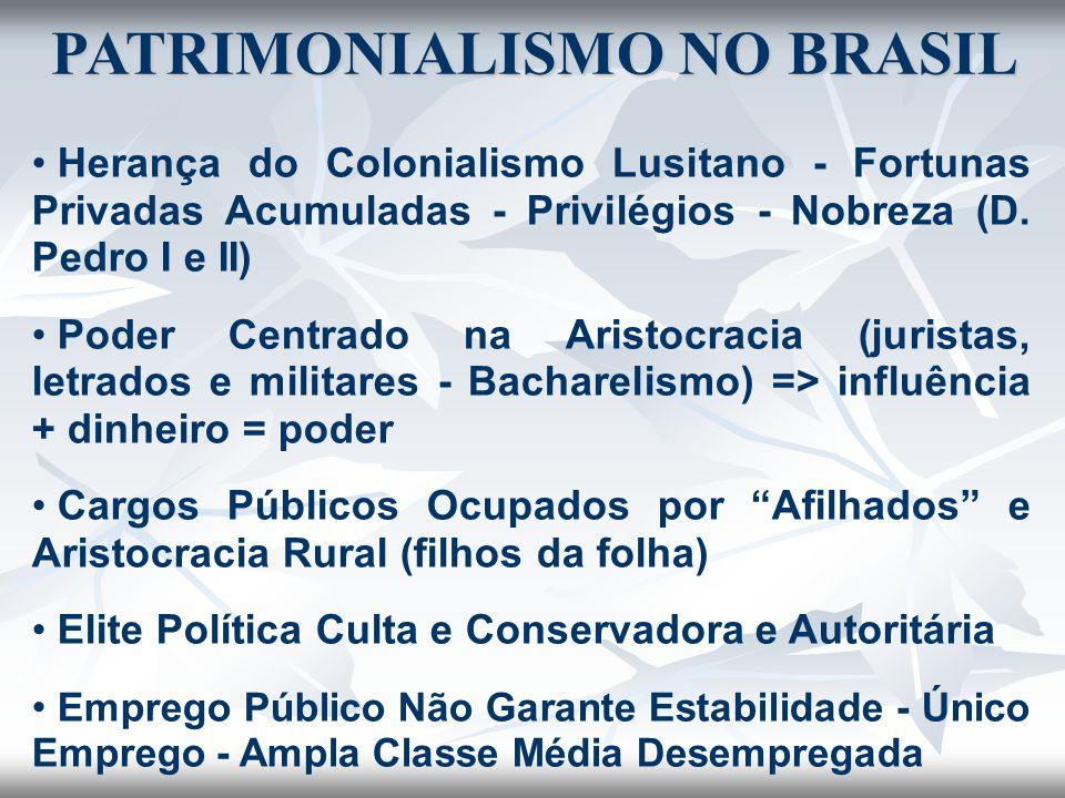 PATRIMONIALISMO NO BRASIL Herança do Colonialismo Lusitano - Fortunas Privadas Acumuladas - Privilégios - Nobreza (D. Pedro I e II) Poder Centrado na