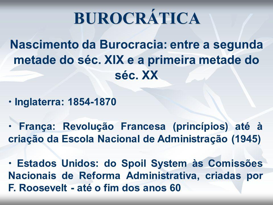 Nascimento da Burocracia: entre a segunda metade do séc. XIX e a primeira metade do séc. XX BUROCRÁTICA  Inglaterra: 1854-1870  França: Revolução Fr