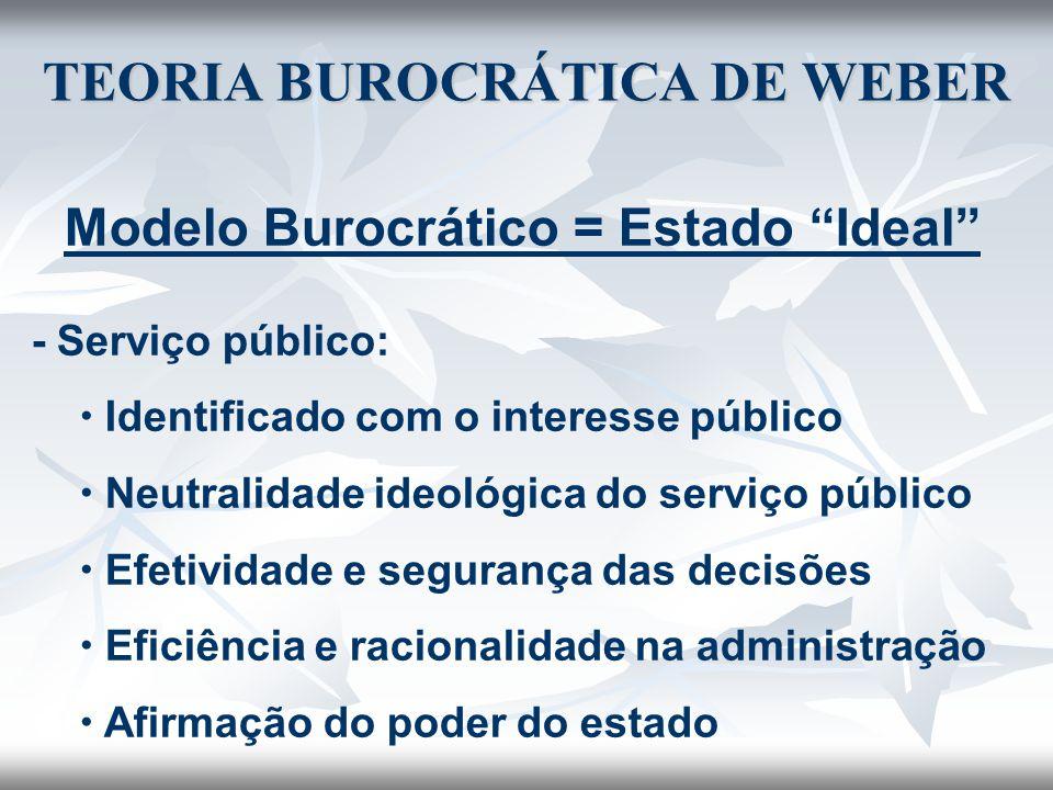 """TEORIA BUROCRÁTICA DE WEBER Modelo Burocrático = Estado """"Ideal"""" - Serviço público:  Identificado com o interesse público  Neutralidade ideológica do"""