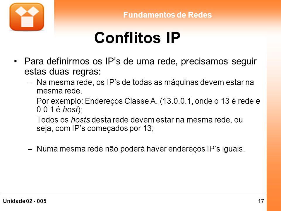 17Unidade 02 - 005 Fundamentos de Redes Conflitos IP Para definirmos os IP's de uma rede, precisamos seguir estas duas regras: –Na mesma rede, os IP's