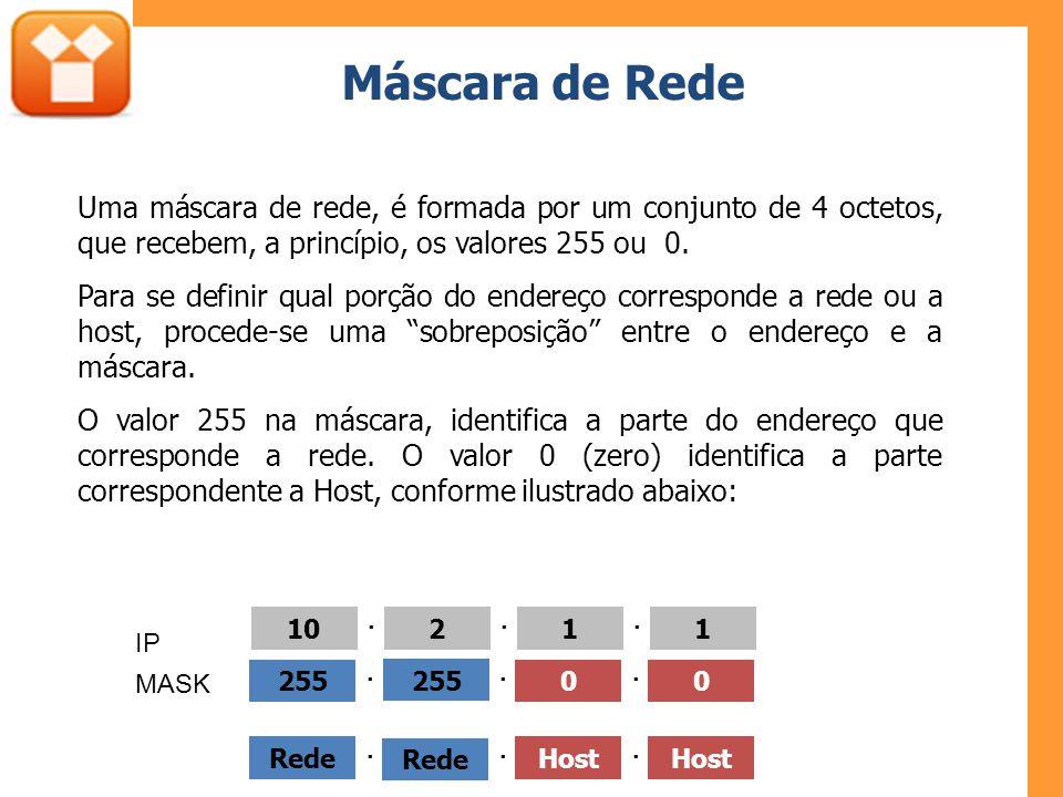 Máscara de Rede Uma máscara de rede, é formada por um conjunto de 4 octetos, que recebem, a princípio, os valores 255 ou 0. Para se definir qual porçã