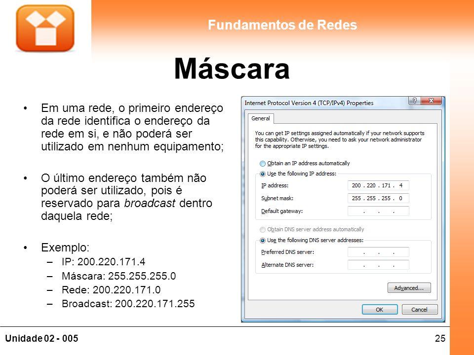 25Unidade 02 - 005 Fundamentos de Redes Máscara Em uma rede, o primeiro endereço da rede identifica o endereço da rede em si, e não poderá ser utiliza