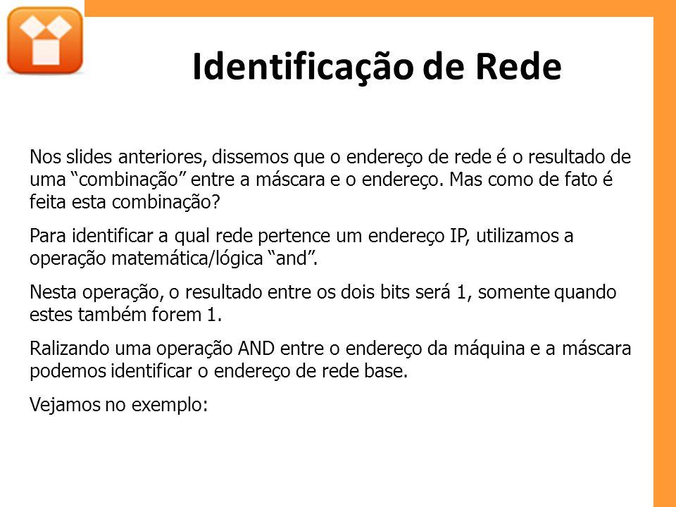 """Identificação de Rede Nos slides anteriores, dissemos que o endereço de rede é o resultado de uma """"combinação"""" entre a máscara e o endereço. Mas como"""