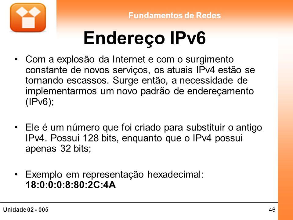 46Unidade 02 - 005 Fundamentos de Redes Endereço IPv6 Com a explosão da Internet e com o surgimento constante de novos serviços, os atuais IPv4 estão