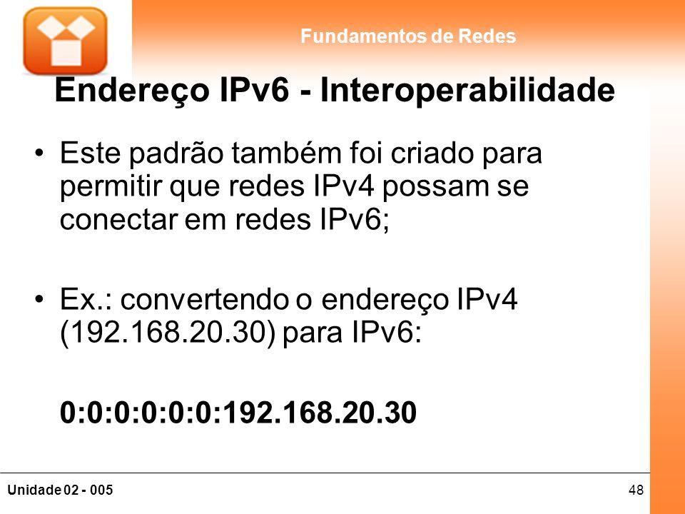 48Unidade 02 - 005 Fundamentos de Redes Endereço IPv6 - Interoperabilidade Este padrão também foi criado para permitir que redes IPv4 possam se conect
