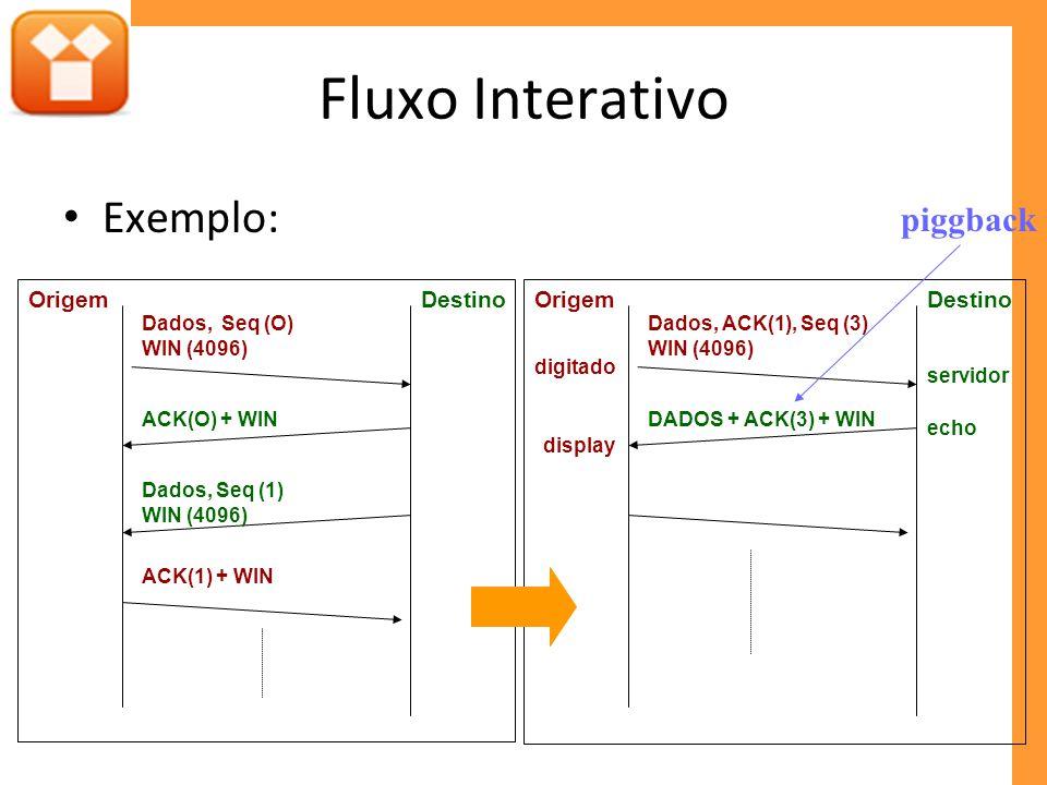 Fluxo Interativo Exemplo: DestinoOrigem Dados, Seq (O) WIN (4096) ACK(O) + WIN ACK(1) + WIN Dados, Seq (1) WIN (4096) DestinoOrigem Dados, ACK(1), Seq