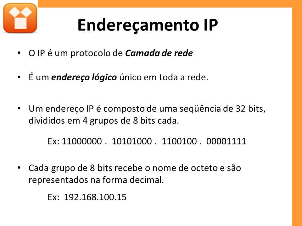 As máscaras também podem ser representadas pela quantidade de bits 1, conforme exemplo abaixo: Ex: 192.168.100.0 / 19 (Notação CIDR) 2 7 + 2 6 + 2 5 = 128 + 64 + 32 = 224 Mácara de Sub-rede: 255.255.224.0 11111111 11100000 00000000