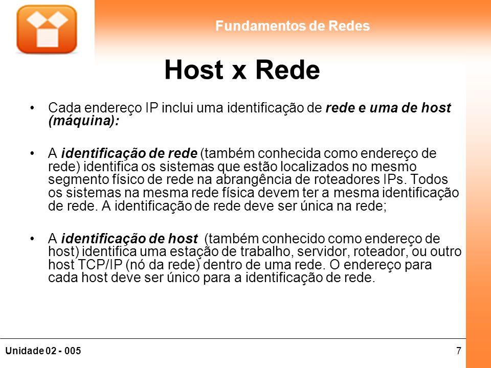 7Unidade 02 - 005 Fundamentos de Redes Host x Rede Cada endereço IP inclui uma identificação de rede e uma de host (máquina): A identificação de rede