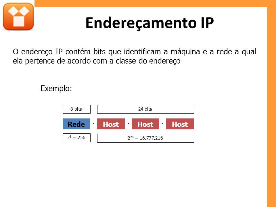 Endereçamento IP O endereço IP contém bits que identificam a máquina e a rede a qual ela pertence de acordo com a classe do endereço Exemplo: RedeHost