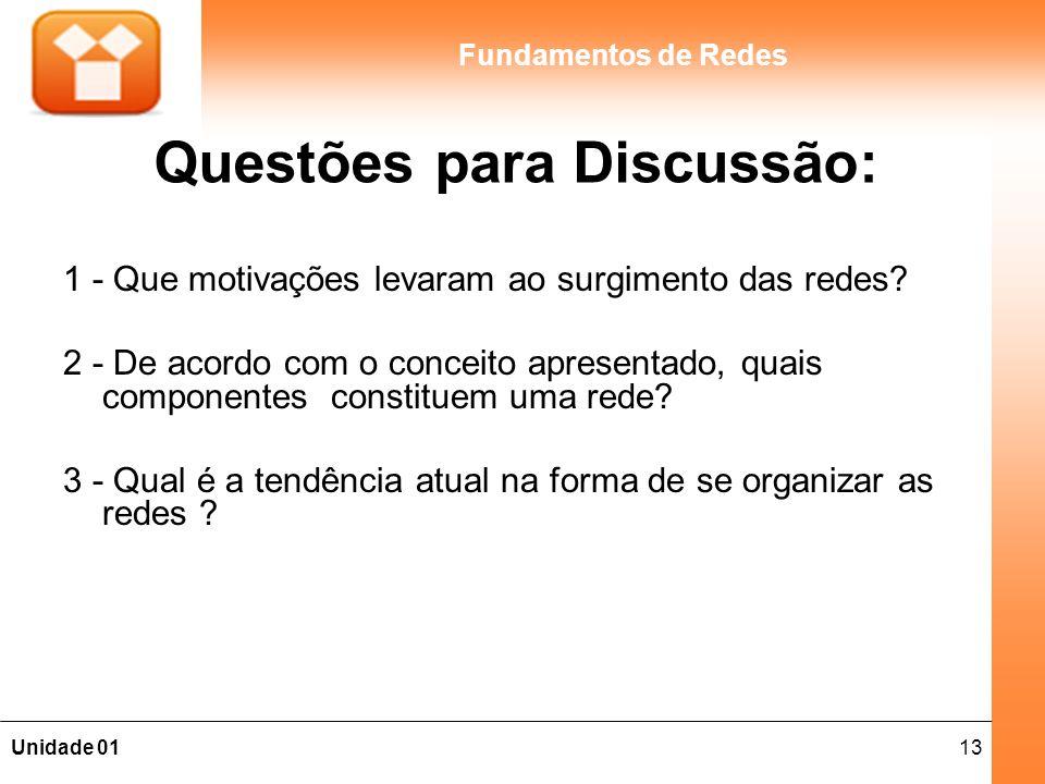 13Unidade 01 Fundamentos de Redes Questões para Discussão: 1 - Que motivações levaram ao surgimento das redes? 2 - De acordo com o conceito apresentad