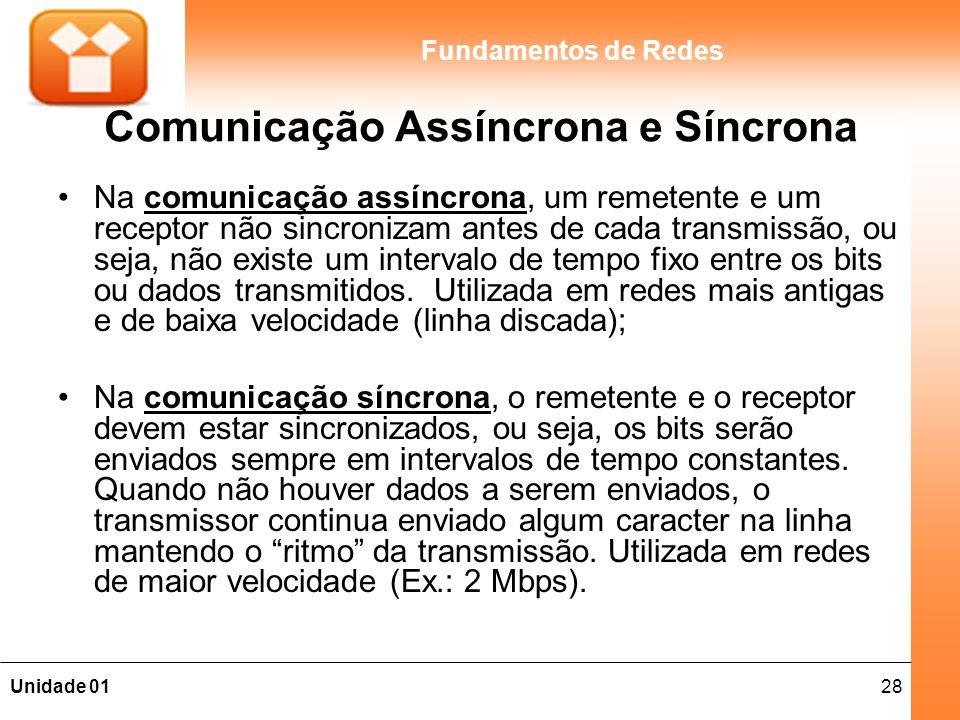 28Unidade 01 Fundamentos de Redes Comunicação Assíncrona e Síncrona Na comunicação assíncrona, um remetente e um receptor não sincronizam antes de cad