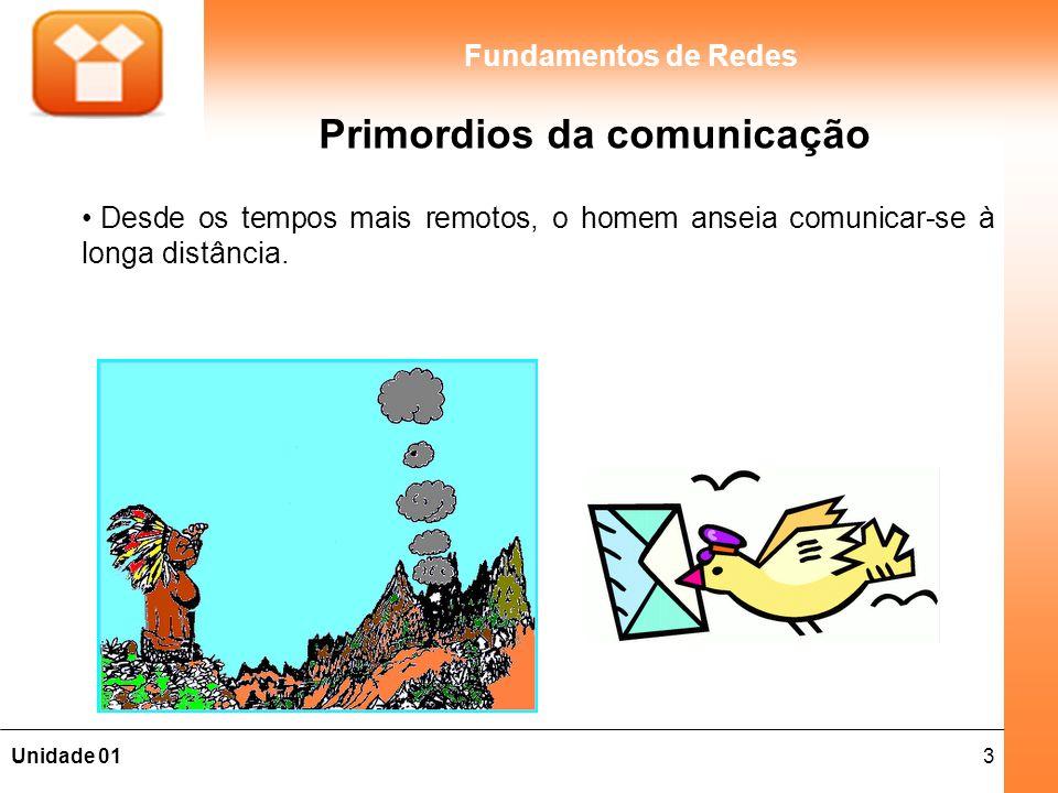 3Unidade 01 Fundamentos de Redes Primordios da comunicação Desde os tempos mais remotos, o homem anseia comunicar-se à longa distância.