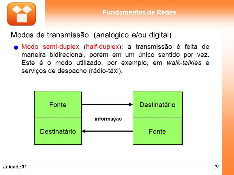 31Unidade 01 Fundamentos de Redes Modos de transmissão (analógico e/ou digital) 31