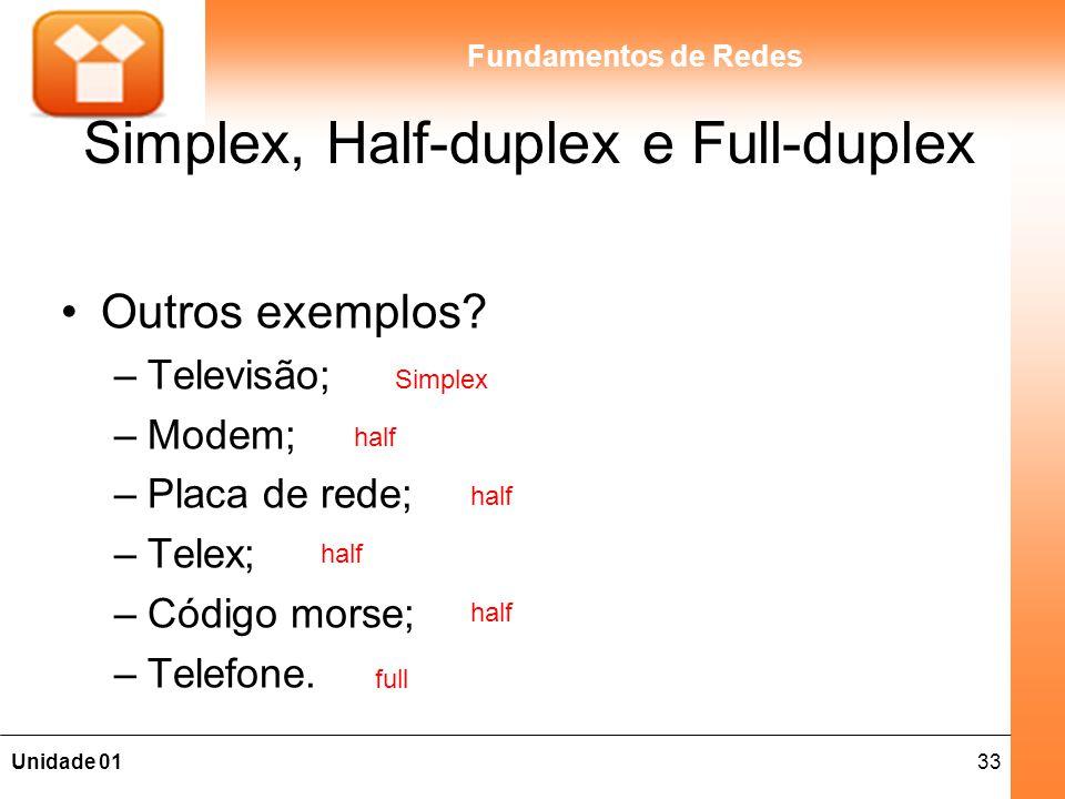 33Unidade 01 Fundamentos de Redes Simplex, Half-duplex e Full-duplex Outros exemplos? –Televisão; –Modem; –Placa de rede; –Telex; –Código morse; –Tele