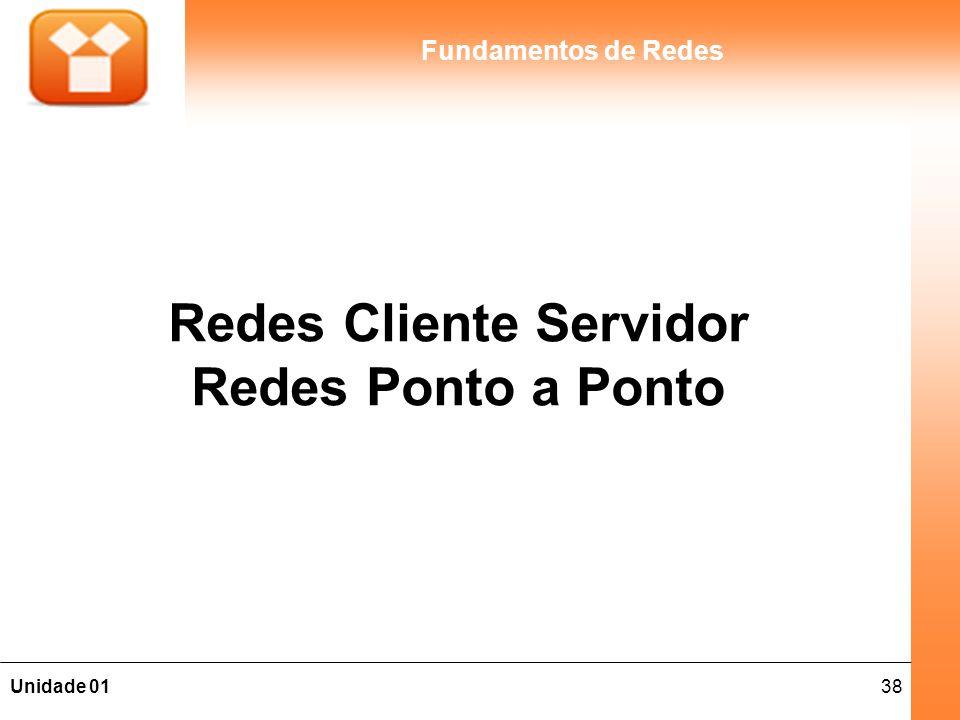 38Unidade 01 Fundamentos de Redes Redes Cliente Servidor Redes Ponto a Ponto