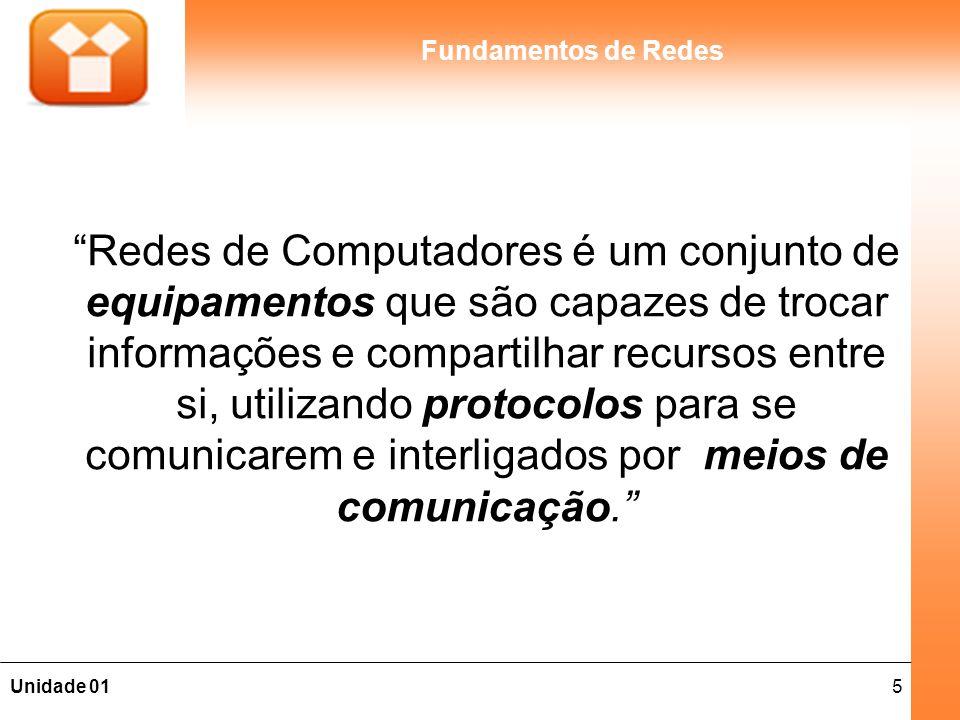5Unidade 01 Fundamentos de Redes Redes de Computadores é um conjunto de equipamentos que são capazes de trocar informações e compartilhar recursos entre si, utilizando protocolos para se comunicarem e interligados por meios de comunicação.