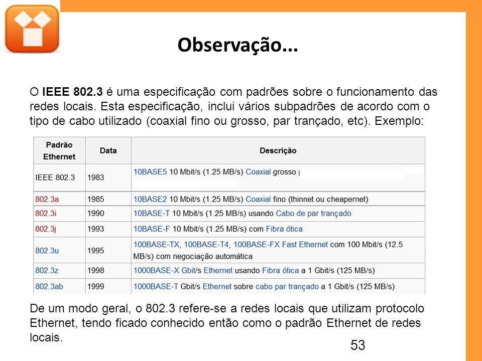 53 Observação... O IEEE 802.3 é uma especificação com padrões sobre o funcionamento das redes locais. Esta especificação, inclui vários subpadrões de