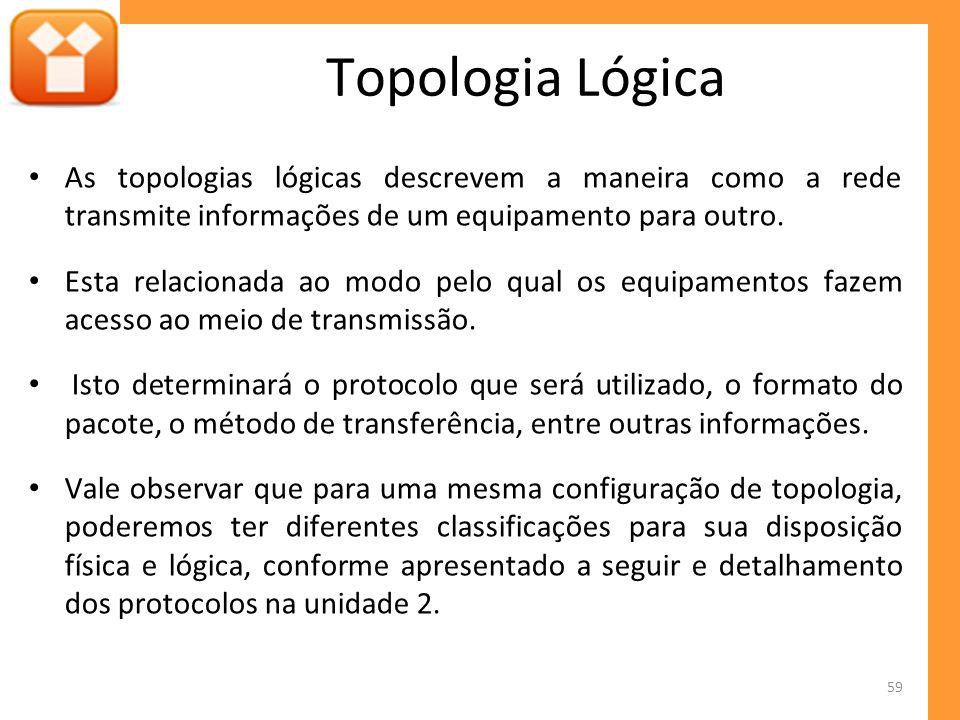 As topologias lógicas descrevem a maneira como a rede transmite informações de um equipamento para outro.