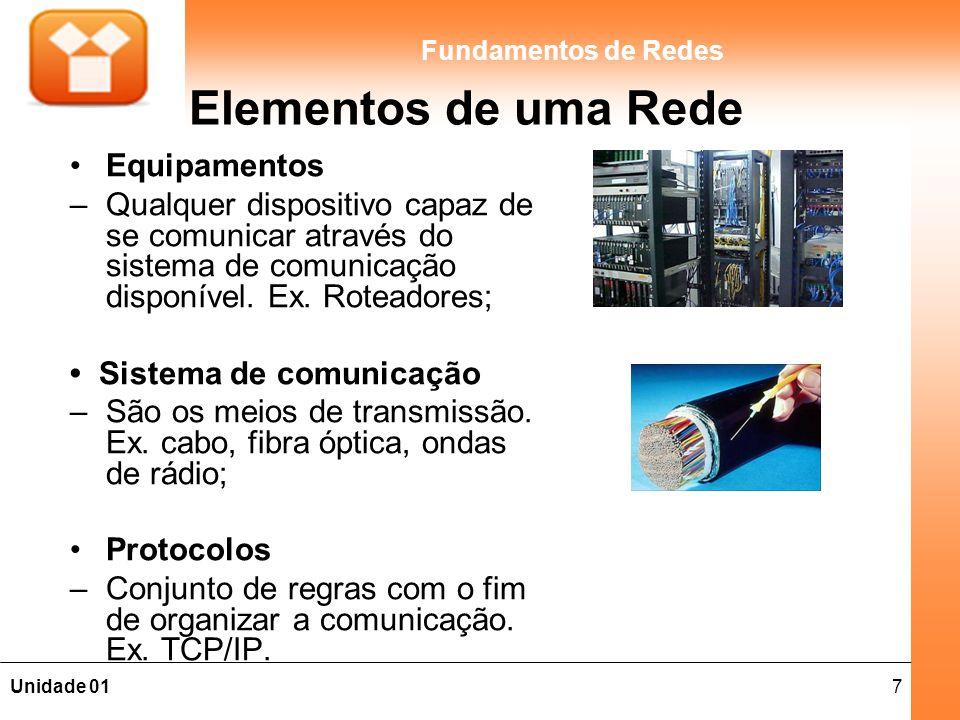 7Unidade 01 Fundamentos de Redes Elementos de uma Rede Equipamentos – Qualquer dispositivo capaz de se comunicar através do sistema de comunicação dis