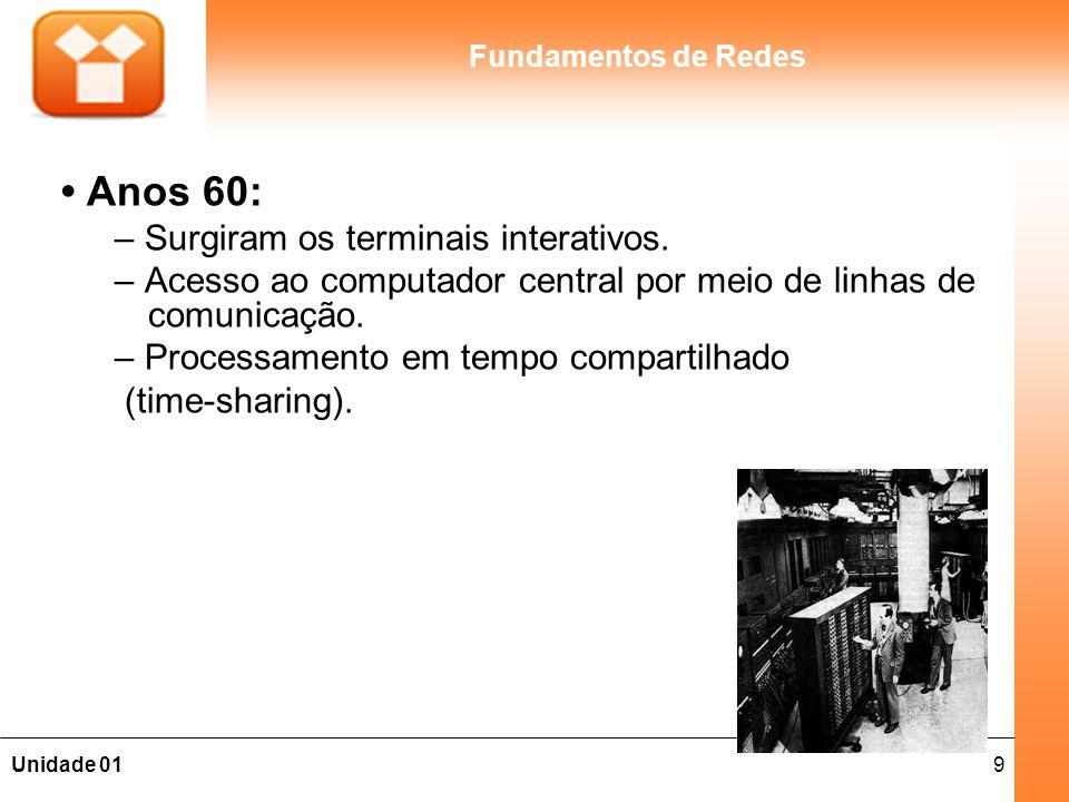9Unidade 01 Fundamentos de Redes Anos 60: – Surgiram os terminais interativos. – Acesso ao computador central por meio de linhas de comunicação. – Pro