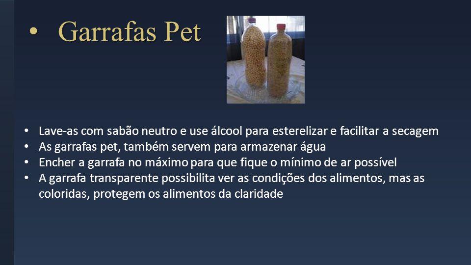 Garrafas Pet Garrafas Pet Lave-as com sabão neutro e use álcool para esterelizar e facilitar a secagem As garrafas pet, também servem para armazenar á