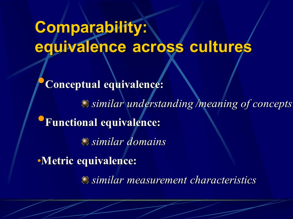 Comparability: equivalence across cultures Conceptual equivalence: Conceptual equivalence: similar understanding /meaning of concepts similar understanding /meaning of concepts Functional equivalence: Functional equivalence: similar domains similar domains Metric equivalence:Metric equivalence: similar measurement characteristics similar measurement characteristics