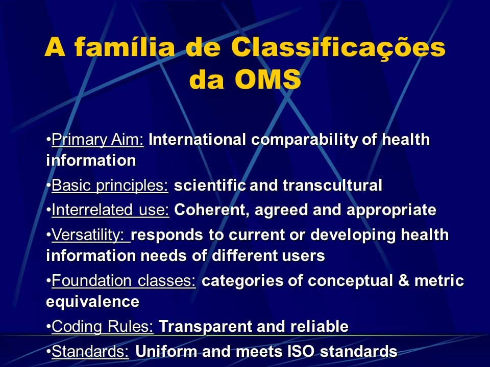 Cultural Applicability Conceptual and funtional equivalence of Classification Conceptual and funtional equivalence of Classification Translatability Translatability Usability Usability International Comparisons International Comparisons