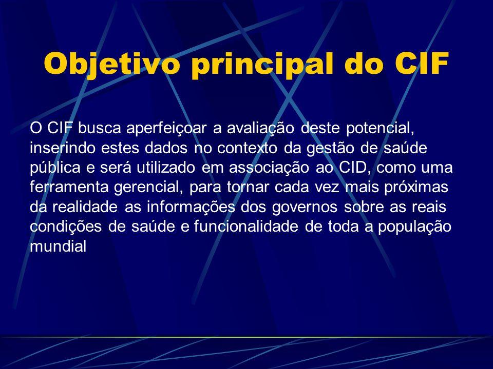 Objetivo principal do CIF O CIF busca aperfeiçoar a avaliação deste potencial, inserindo estes dados no contexto da gestão de saúde pública e será uti