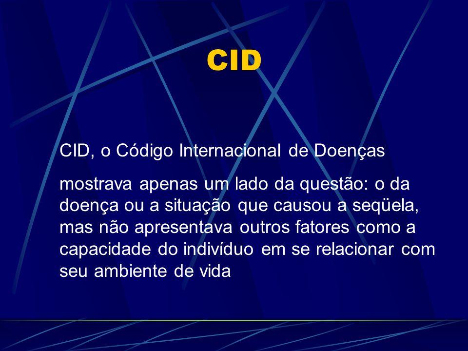 CID CID, o Código Internacional de Doenças mostrava apenas um lado da questão: o da doença ou a situação que causou a seqüela, mas não apresentava out