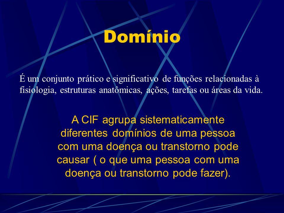 Domínio É um conjunto prático e significativo de funções relacionadas à fisiologia, estruturas anatômicas, ações, tarefas ou áreas da vida. A CIF agru