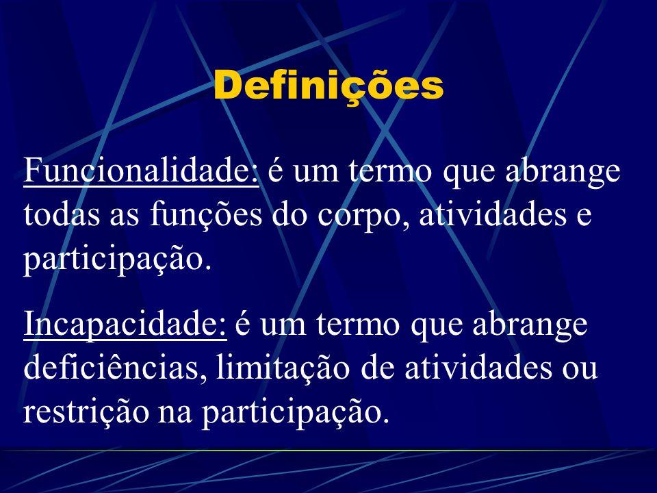 Definições Funcionalidade: é um termo que abrange todas as funções do corpo, atividades e participação. Incapacidade: é um termo que abrange deficiênc