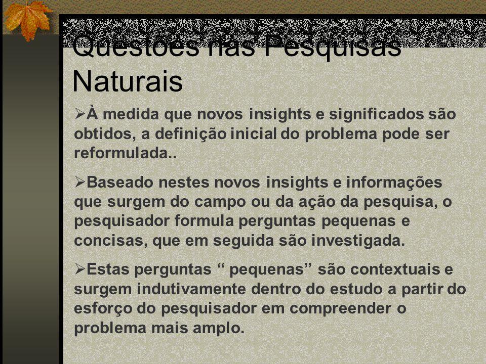 Questões nas Pesquisas Naturais  Inúmeras perspectivas filosóficas  Similaridades na abordagem do problema  Passos: Identificação de um tópico e um