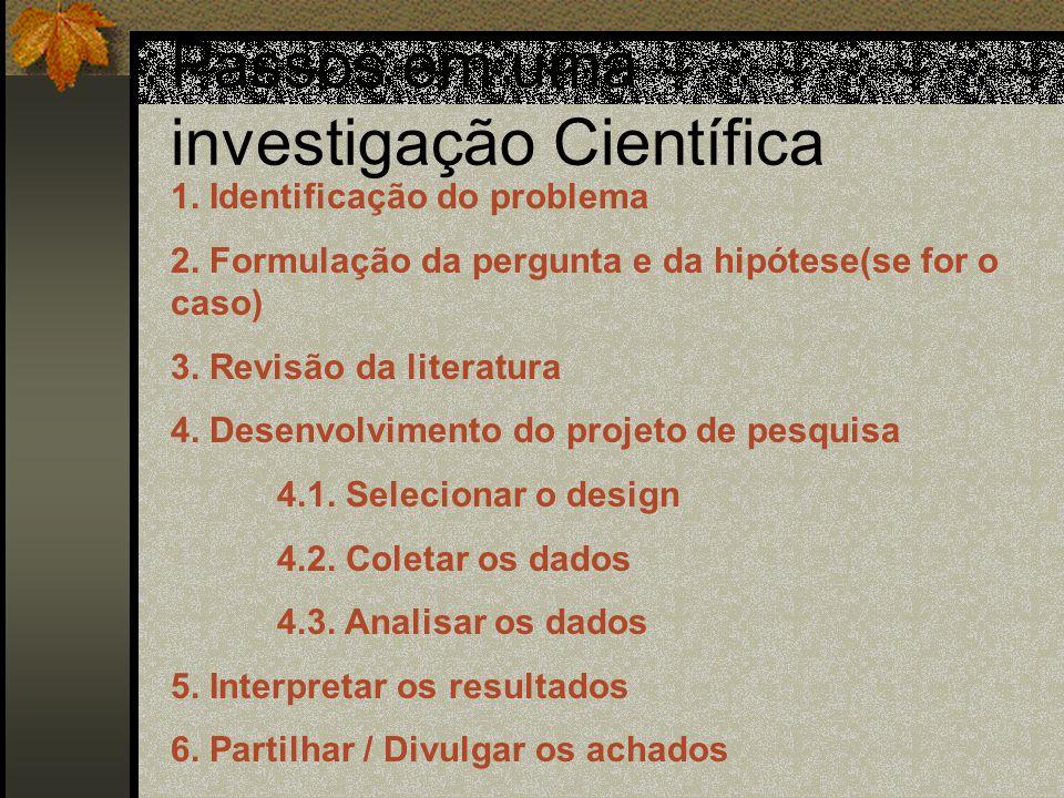 Passos em uma investigação Científica 1.Identificação do problema 2.