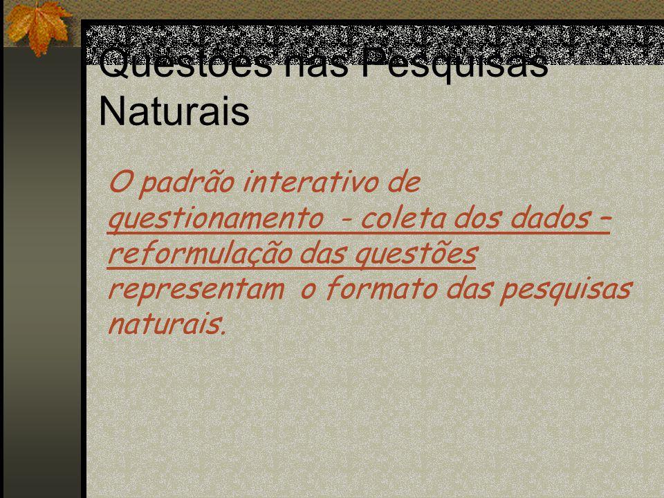 Questões nas Pesquisas Naturais  À medida que novos insights e significados são obtidos, a definição inicial do problema pode ser reformulada..