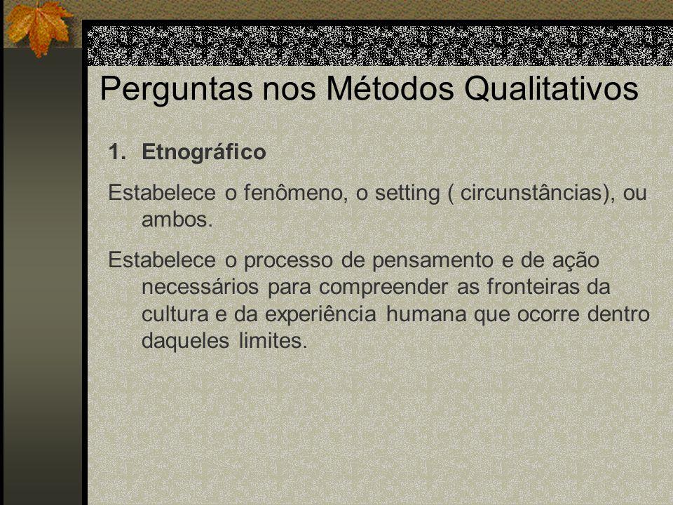 Perguntas nos Métodos Qualitativos 1.Etnográfico Abordagem primária: descrição e interpretação dos padrões culturais de grupos e compreensão dos significados utilizados pelas pessoas para organizar e interpretar suas experiências.