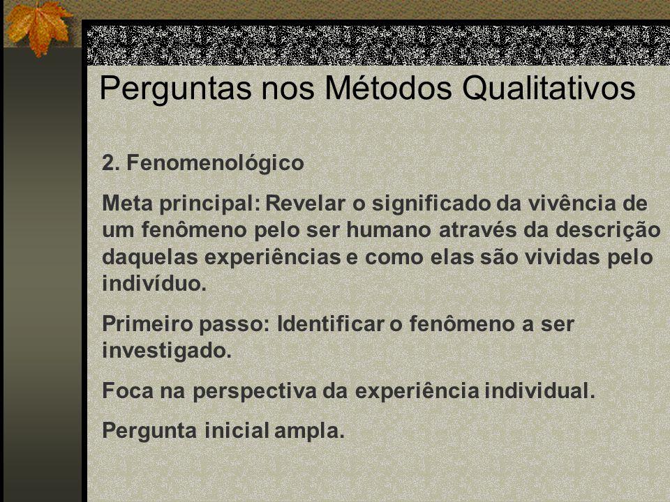 Perguntas nos Métodos Qualitativos 1.Etnográfico Estabelece o fenômeno, o setting ( circunstâncias), ou ambos. Estabelece o processo de pensamento e d