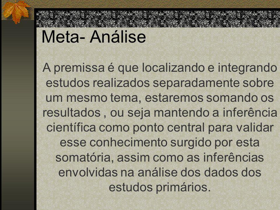 4. Revisão Quantitativa: Meta- Análise Refere a análise estatística de uma grande coleção de resultados analisados com o objetivo de integrar os resul