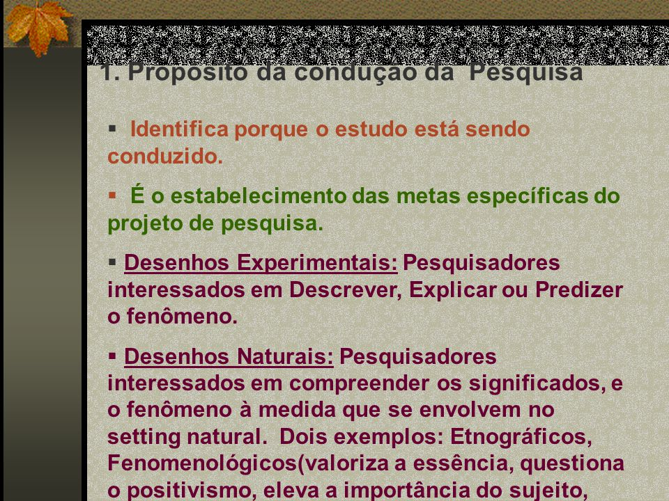 Um problema de Pesquisa Reflete: 1.Propósito da condução da Pesquisa 2.O quadro de referência teórica selecionado 3.Recursos para implementar o projeto