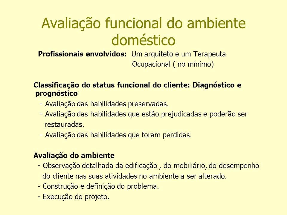 Avaliação funcional do ambiente doméstico Profissionais envolvidos: Um arquiteto e um Terapeuta Ocupacional ( no mínimo) Classificação do status funcional do cliente: Diagnóstico e prognóstico - Avaliação das habilidades preservadas.