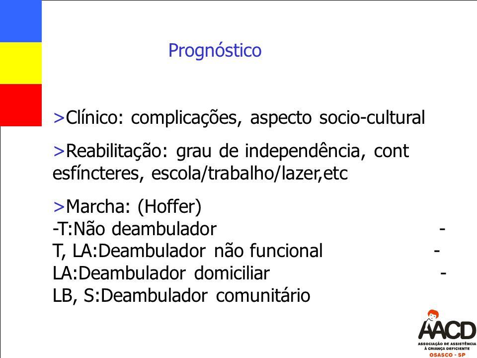 Prognóstico >Clínico: complicações, aspecto socio-cultural >Reabilitação: grau de independência, cont esfíncteres, escola/trabalho/lazer,etc >Marcha: